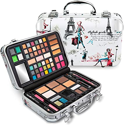 Vokai Kit de maquillaje de regalo – Estuche de viaje 41 sombras de ojos 4 coloretes 5