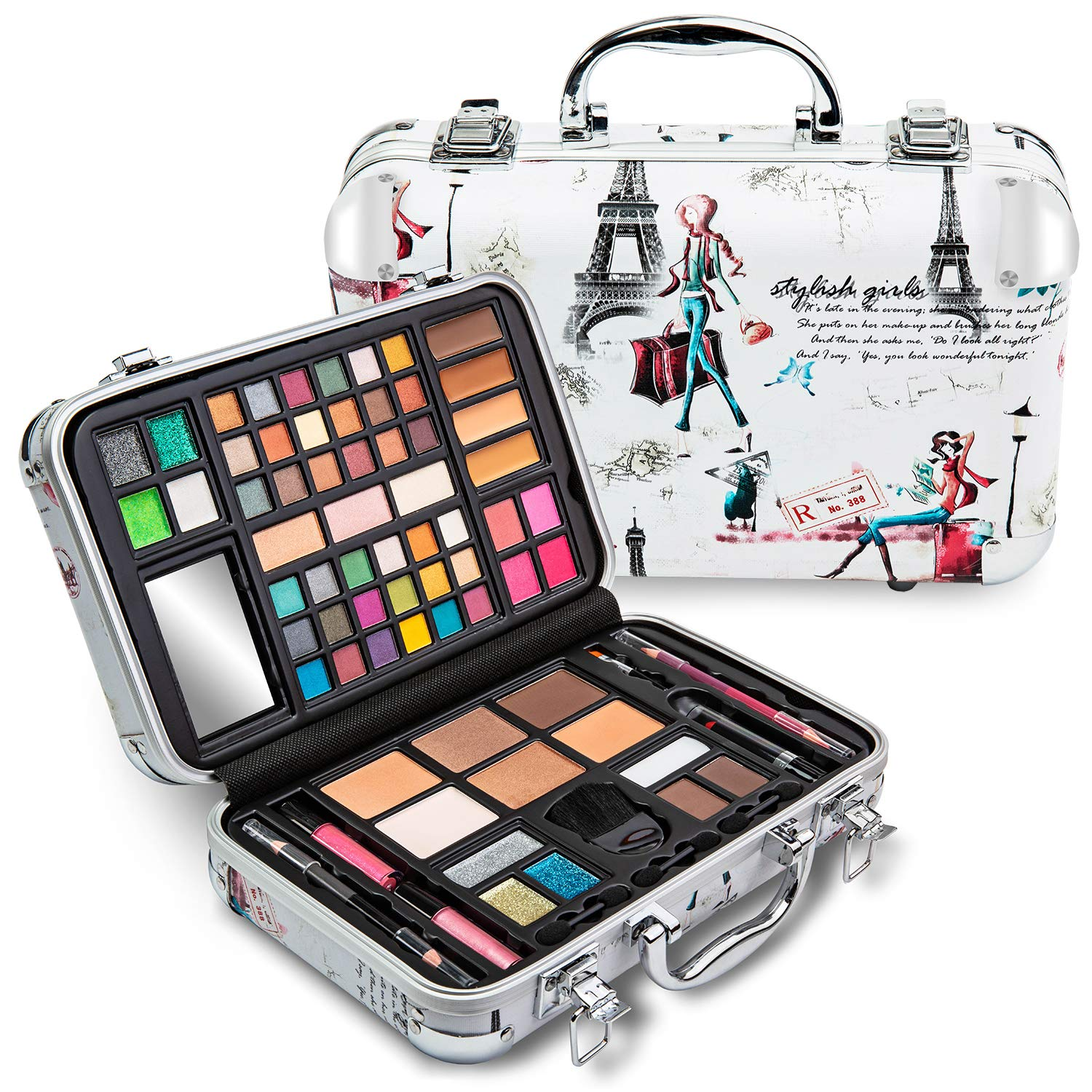 Vokai Makeup Kit Gift Set - Paris Travel Case 41 Eye Shadows 4 Blushes 5 Bronzers 7 Body Glitters 1 Lip Liner Pencil 1 Eye Liner Pencil 2 Lip Gloss Wands 1 Lipstick 5 Concealers 1 Brow Wax 1 Mirror