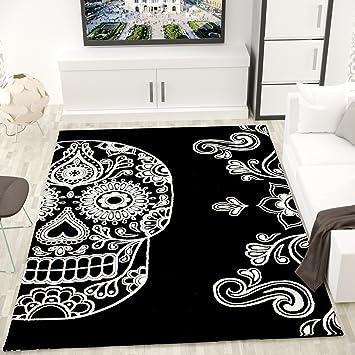Moderner Wohnzimmer Teppich Schwarz Weiß Kunstvoll Totenkopf Motiv ...
