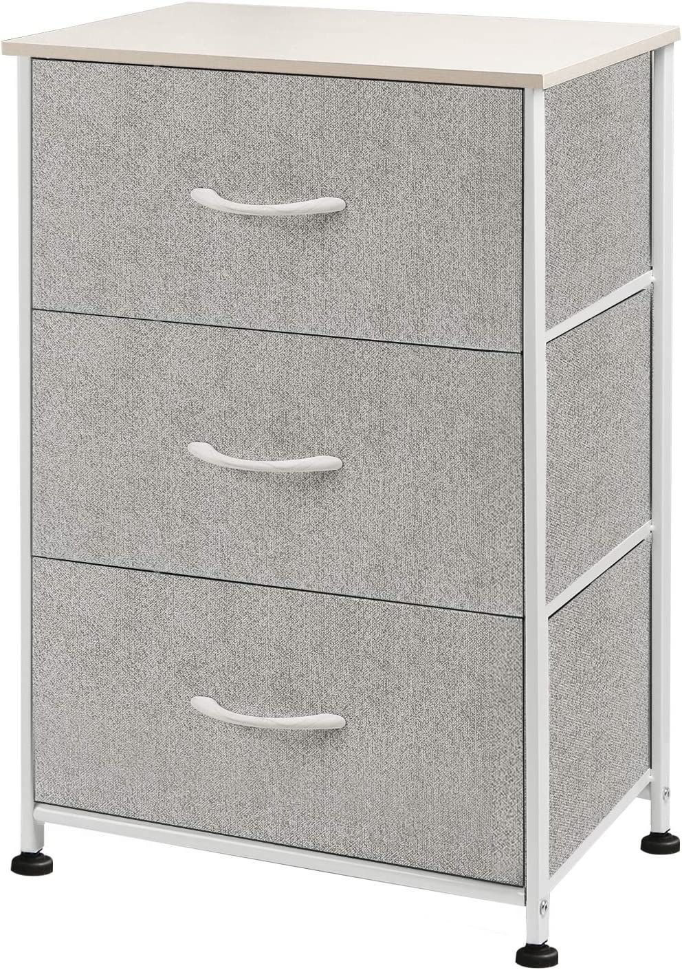 WLIVE Dresser with 3 Drawers, Fabric Storage Tower, Organizer Unit for Bedroom, Hallway, Entryway, Closets, Sturdy Steel Frame, Wood Top, Easy Pull Handle
