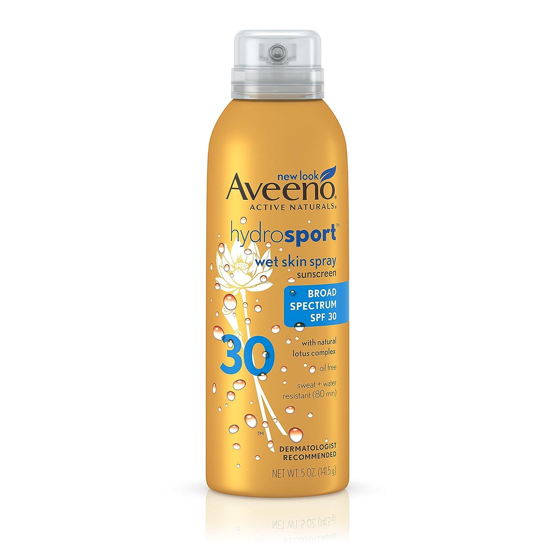 Aveeno Hydrosport Wet Skin Spray Sunscreen With Broad Spectrum SPF 30, 5 Oz