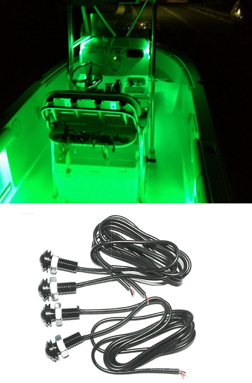 Amazon Com 4x Green Led Boat Light Waterproof 12v Deck