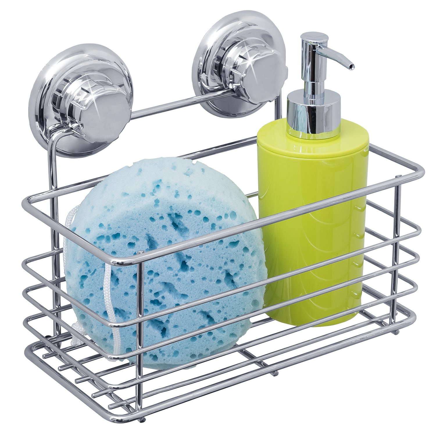Tatkraft Vena Bath Shelf Shower Caddy Suction Cups Megalock Chrome ...