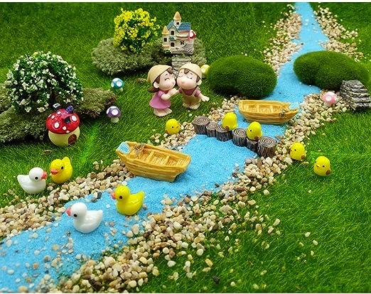 EMiEN juego de 28 piezas de decoración de casa de muñecas de jardín de hadas para relajación, estilo de relajación en miniatura, para bricolaje, arena azul, pbarco, árbol, escaleras, seta, piso,muelle: Amazon.es: