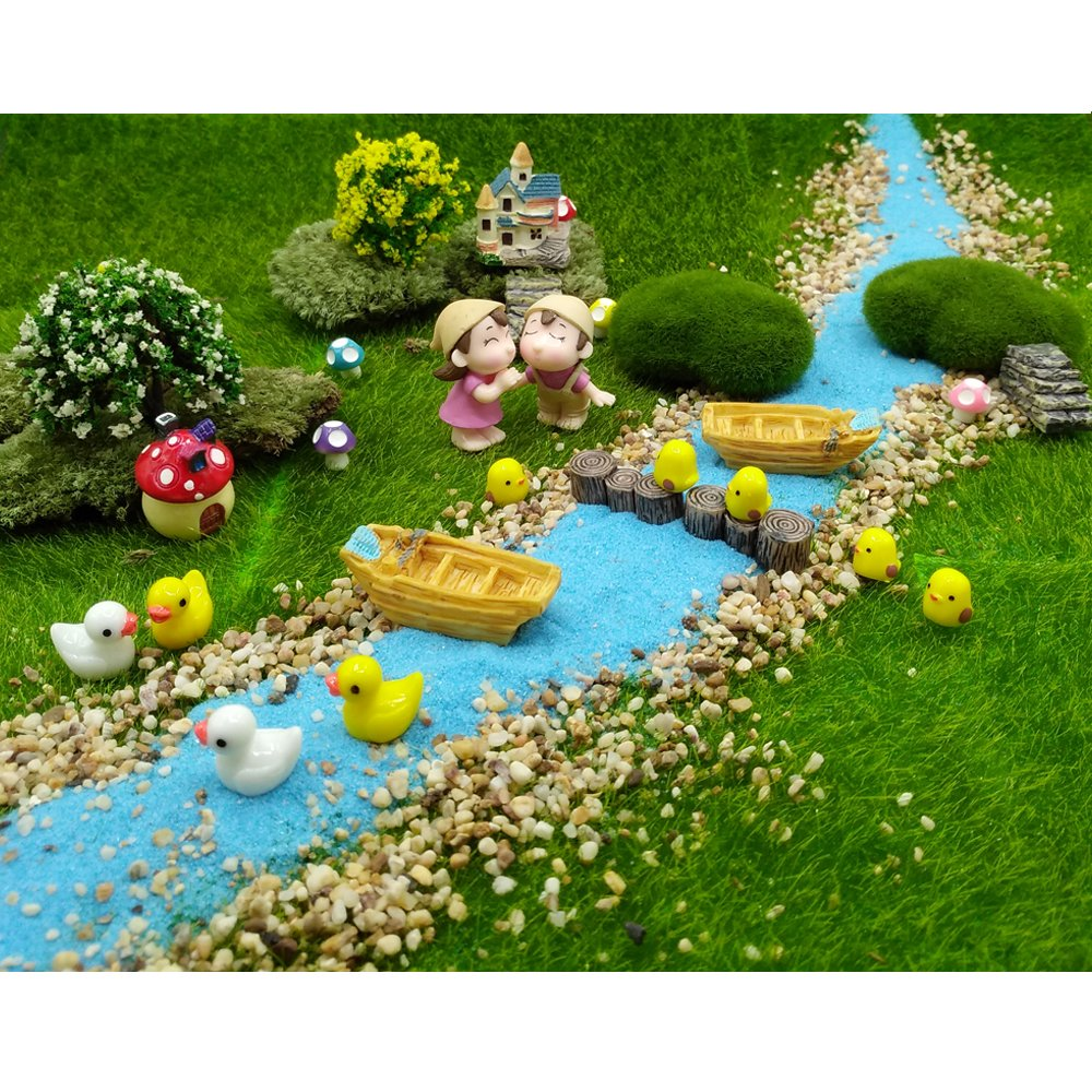 EMiEN 28 Pieces Village Vacation Style Miniature Ornament Kits Set for DIY Fairy Garden Dollhouse Decoration,Blue Sand,Scree,Cute Kids,Boats,Chicks,Ducks,Trees,Stairs,Mushrooms,Stump Pier by EMiEN