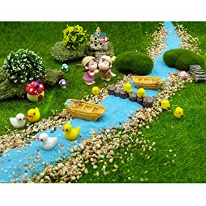 EMiEN 28 Pieces Village Vacation Style Miniature Ornament Kits Set for DIY Fairy Garden Dollhouse Decoration,Blue Sand,Scree,Cute Kids,Boats,Chicks,Ducks,Trees,Stairs,Mushrooms,Stump Pier