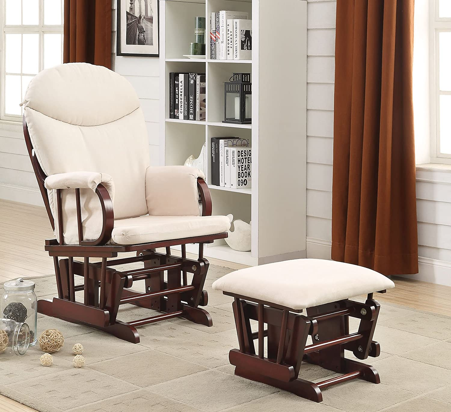 Acme Furniture 59330 2 Piece Raul Glider Chair & Ottoman, Beige & Cherry