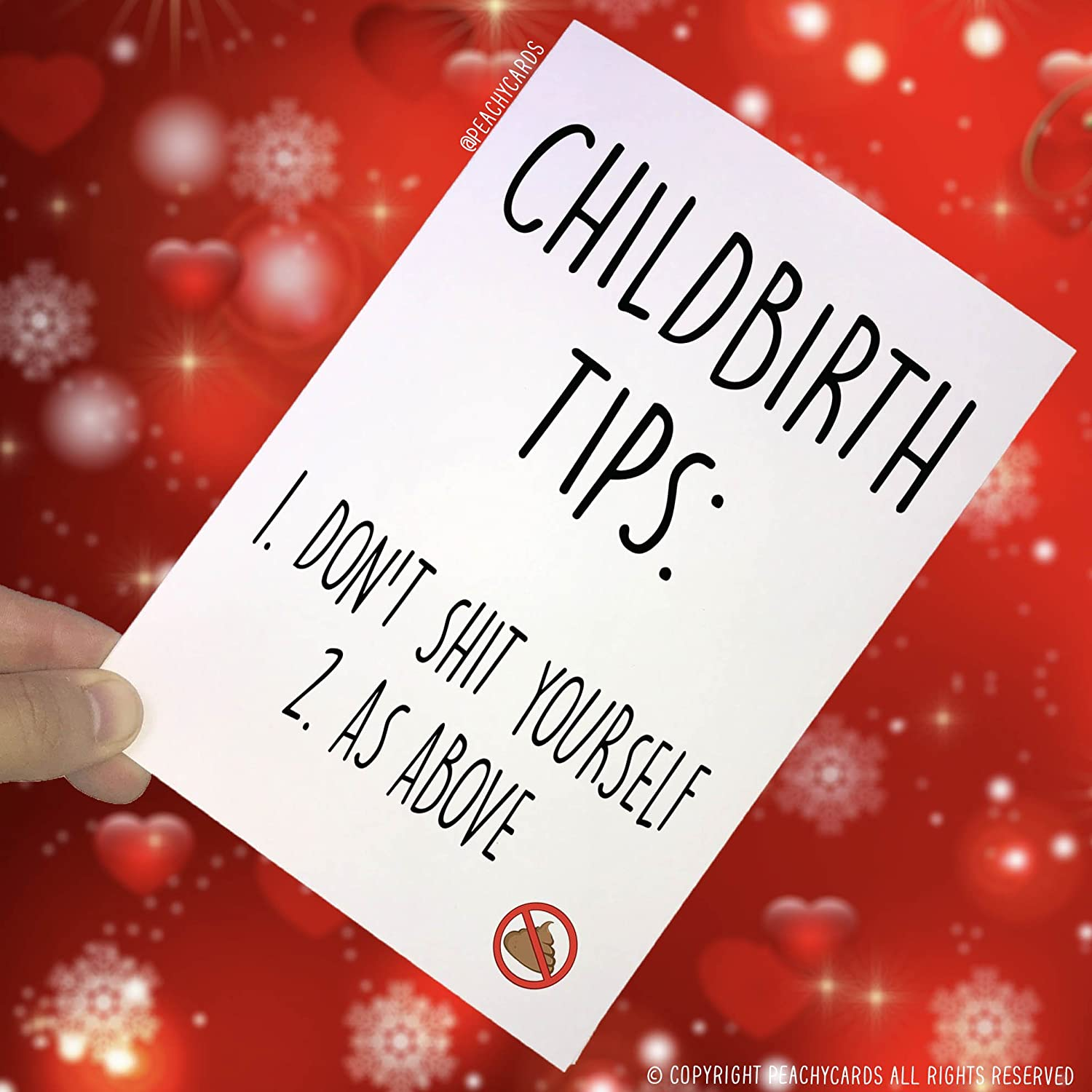 Childbirth Tips Dont Shit Yourself Pregnancy Card Funny Cards Joke Banter Novelty Adult Humour Friend Colleague PC132 New Baby Card