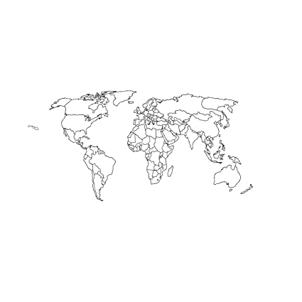 Amazon.com: World Map Outline Dry Erase Vinyl Wall Decal ...