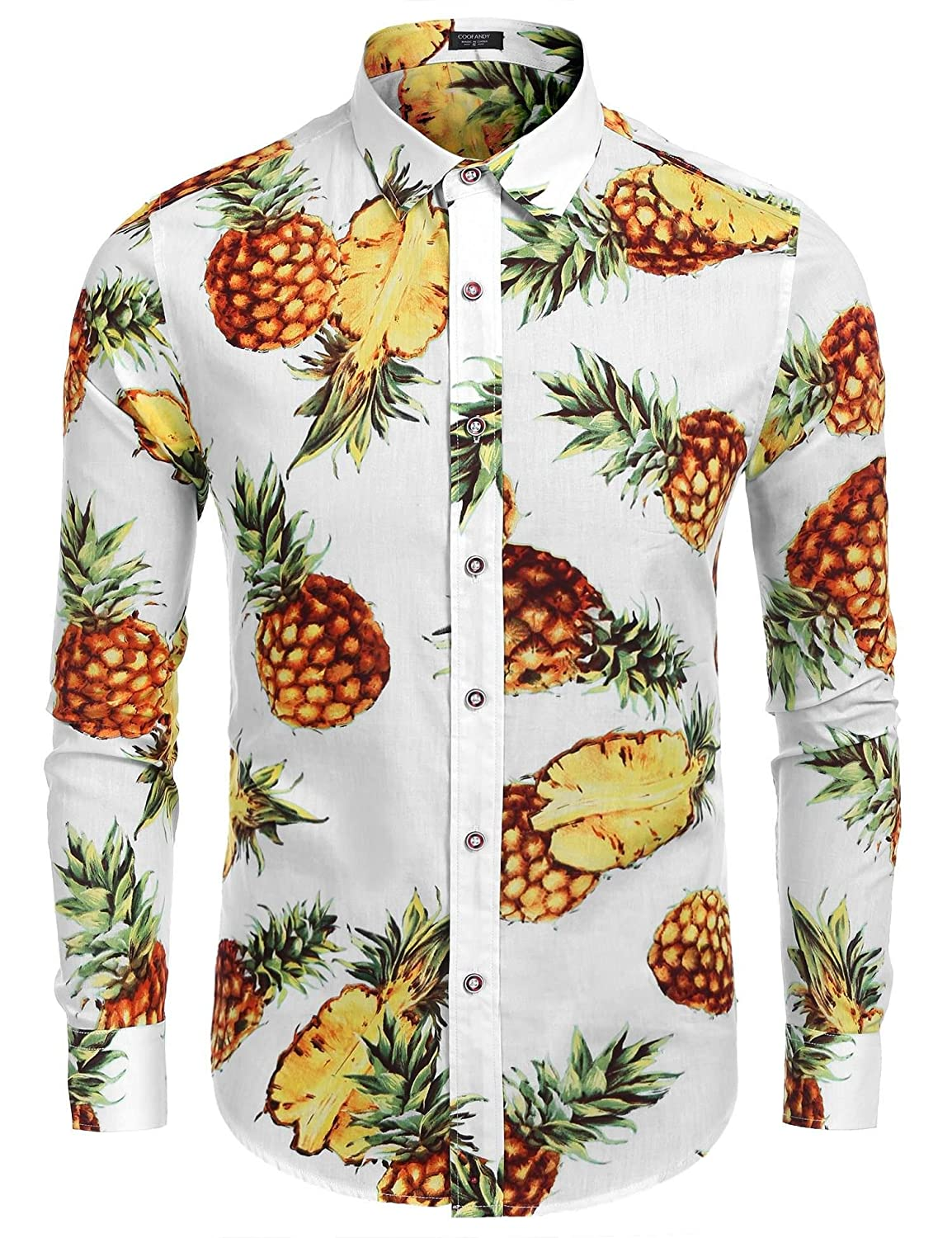 COOFANDY Men's Floral Print Slim Fit Long Sleeve Casual Button Down Shirt AMJ005228