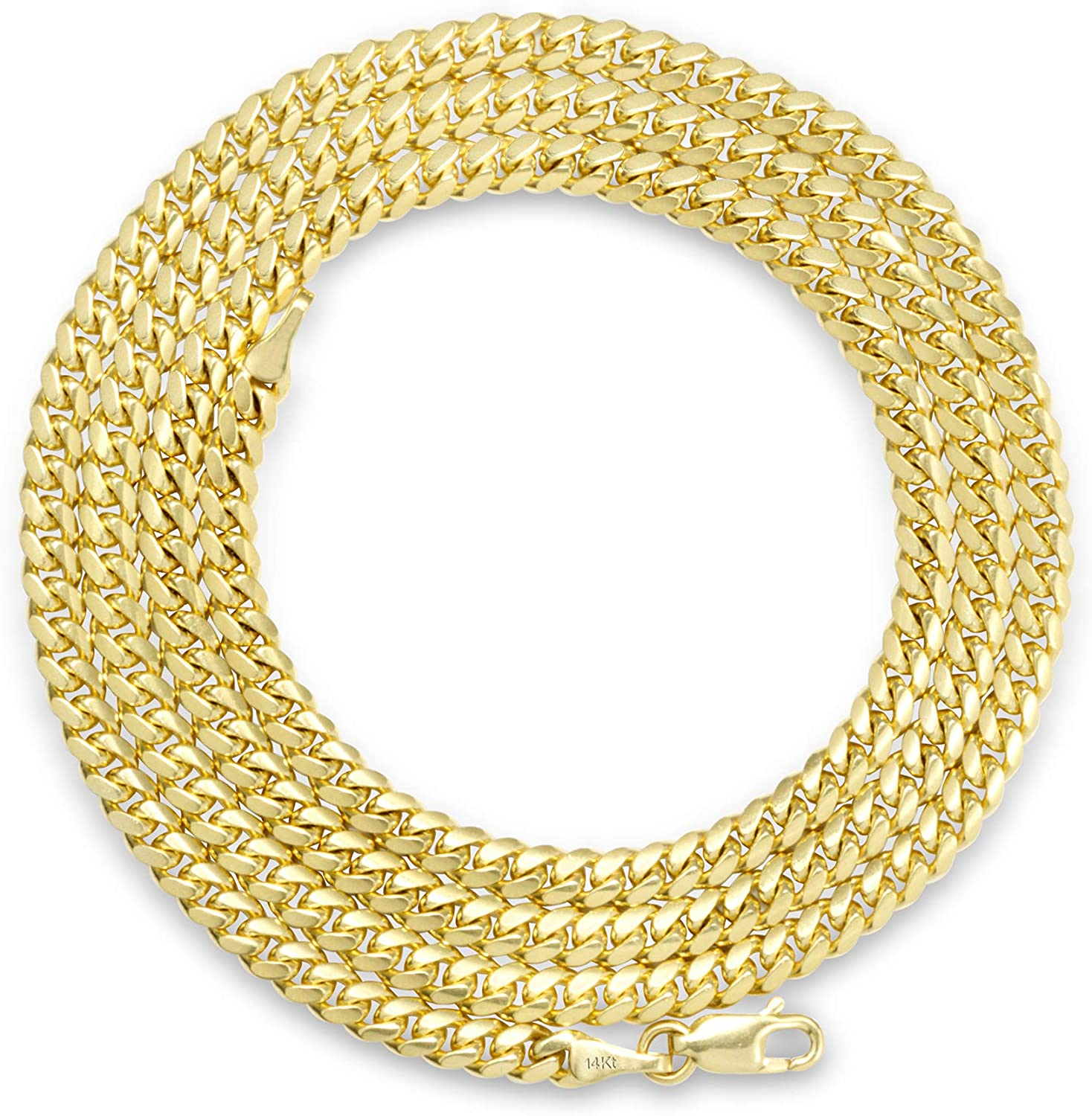 18-30 Unisex 14K Yellow Gold Solid 4mm Miami Cuban Chain Pendant Necklace
