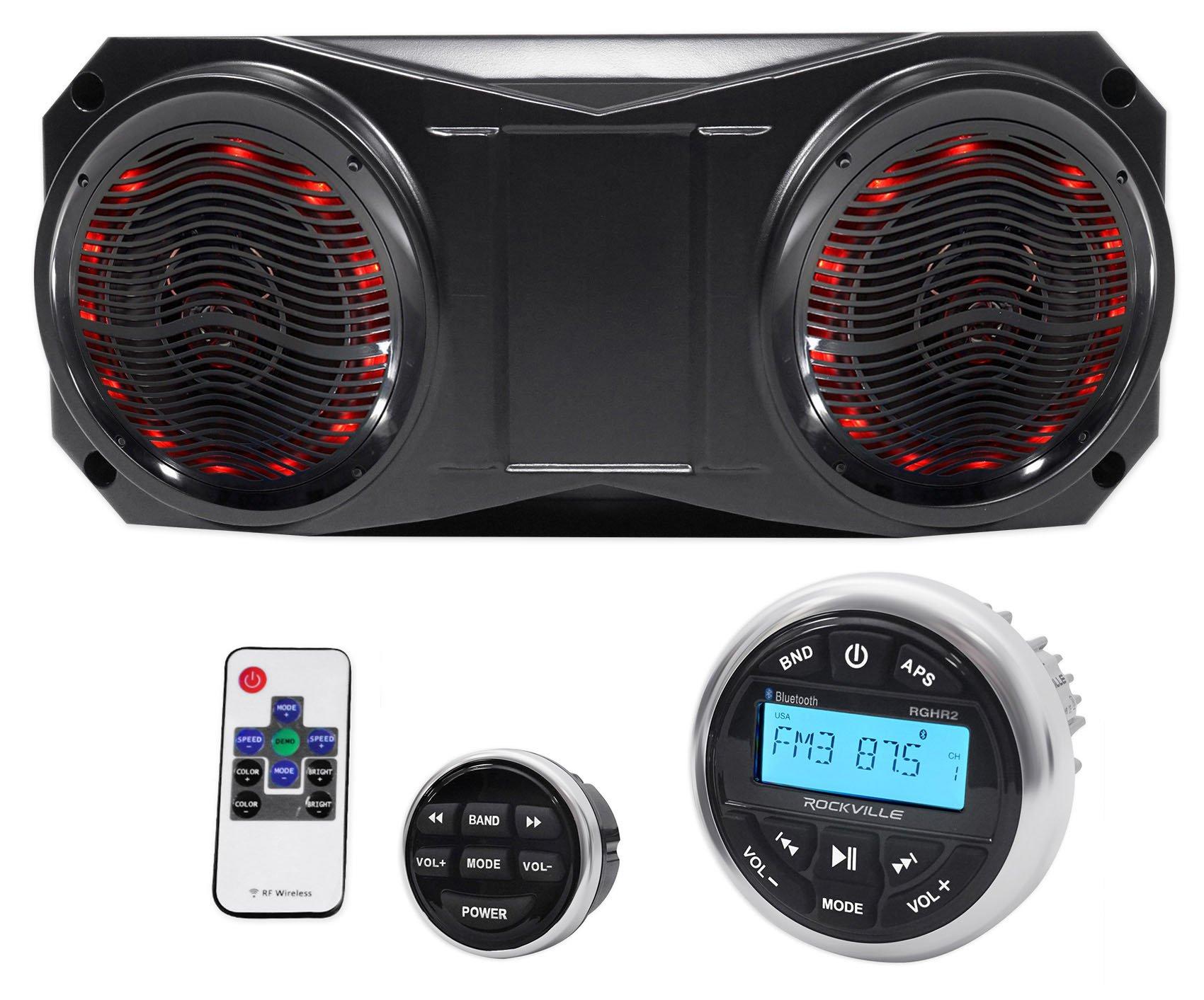 Rockville Bluetooth Gauge Receiver+(2) 6.5'' Overhead LED Speakers 4 ATV/UTV/Cart