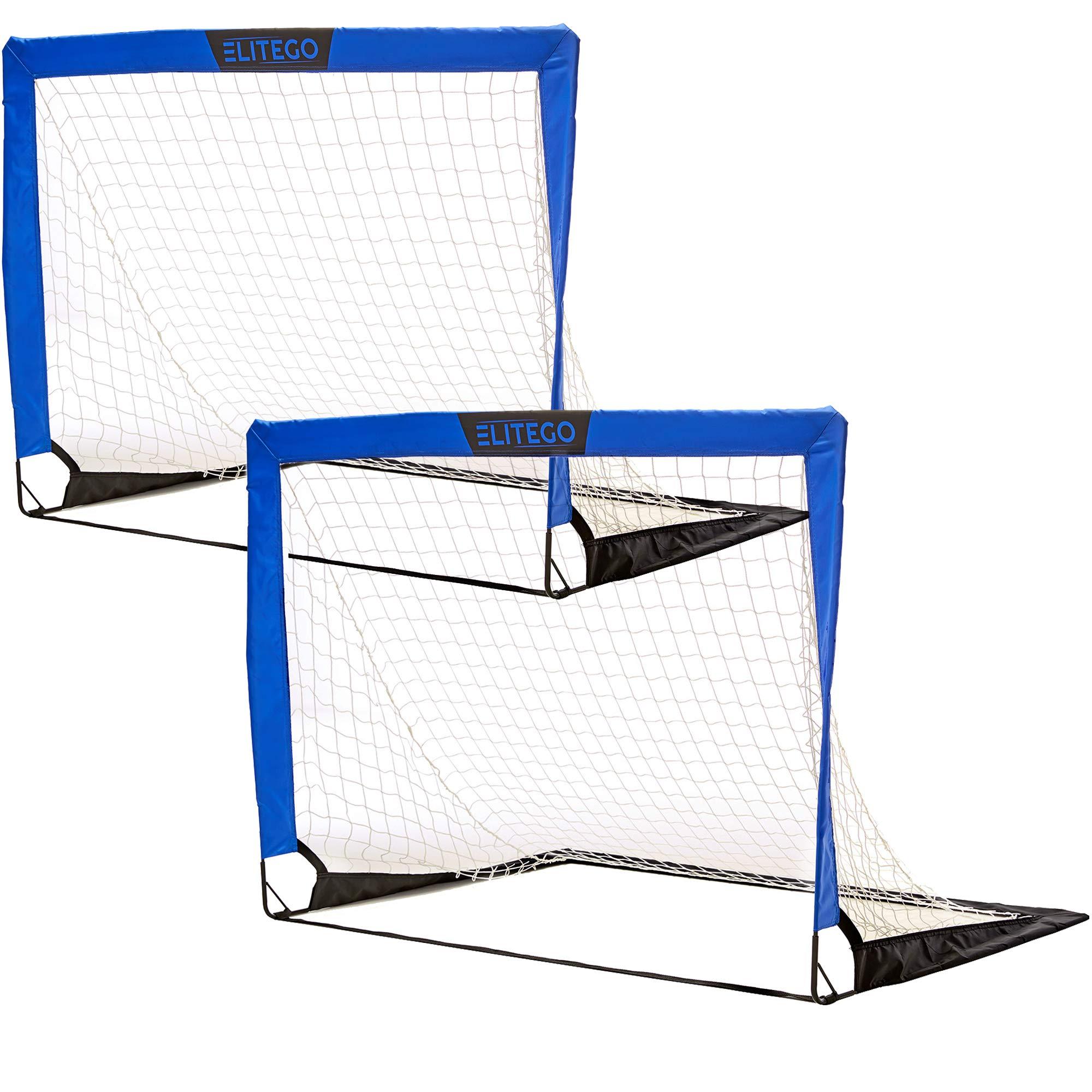 EliteGo Portable Soccer Goal   Instant Pop Up Net   Fiberglass Poles, Sets of 2 (Blue)