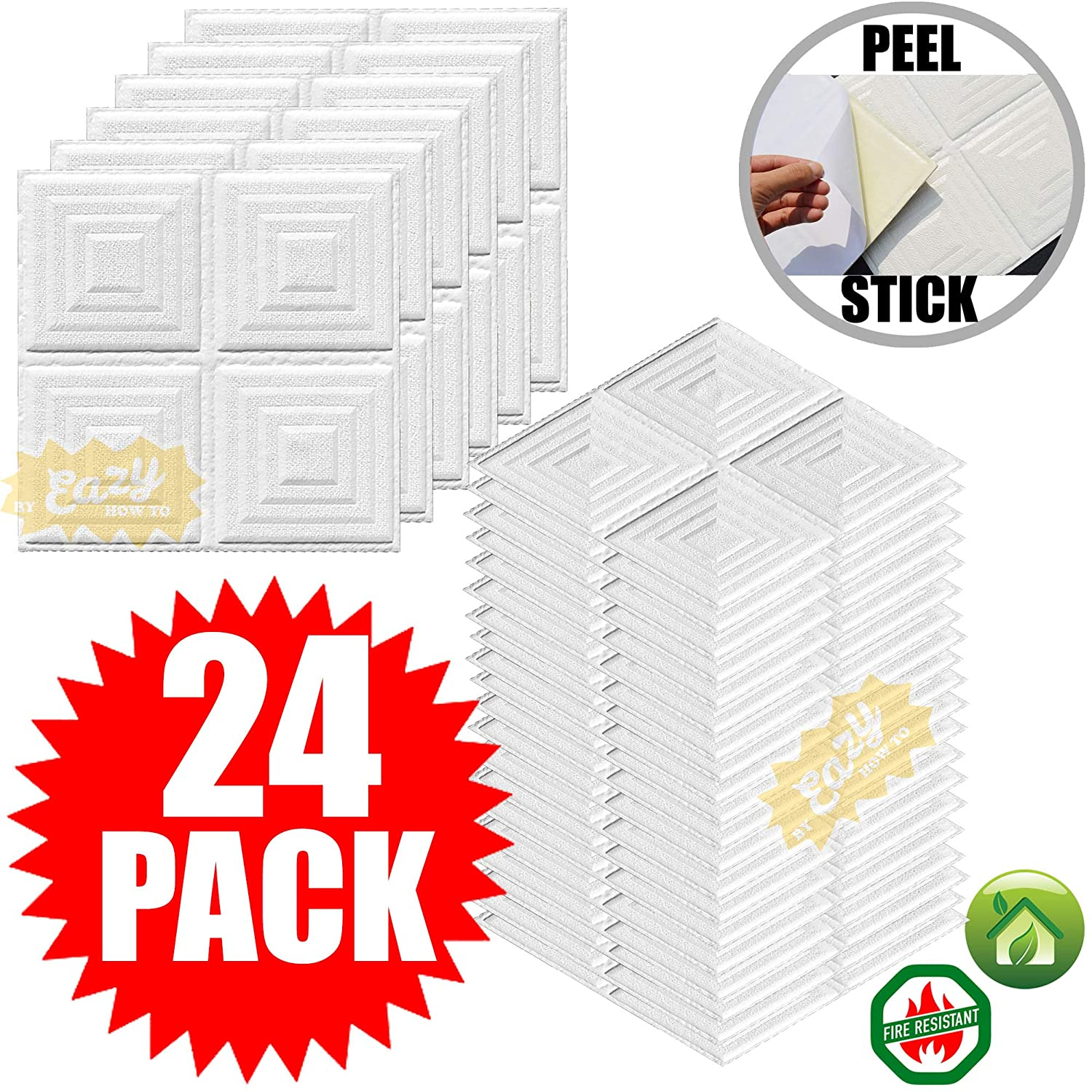 46 pack ceiling tiles 30cm x 30cm pyramid style peel and stick easy installation textured panels