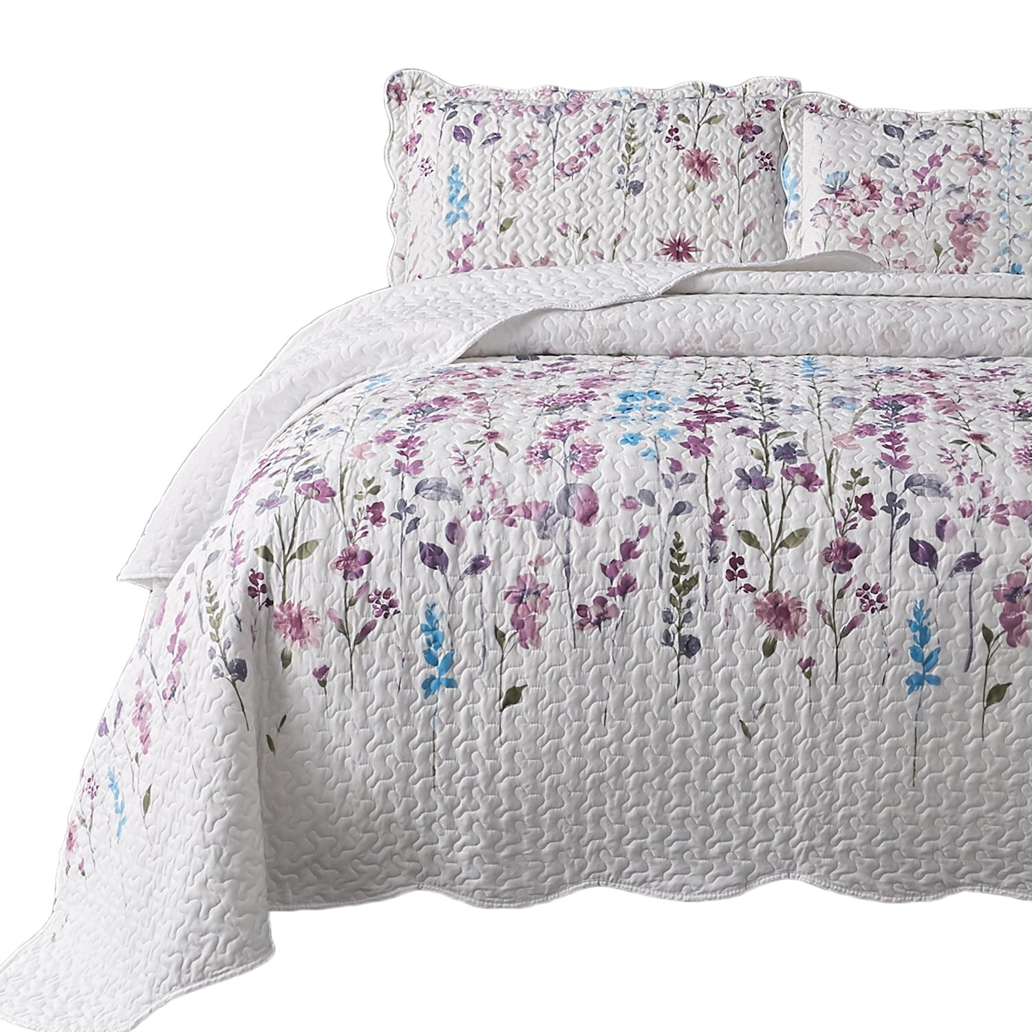 Bedsure Printed Quilt Coverlet Set Full/Queen(86''x96'') Lilac Floral Pattern Lightweight Hypoallergenic Microfiber Bouquet
