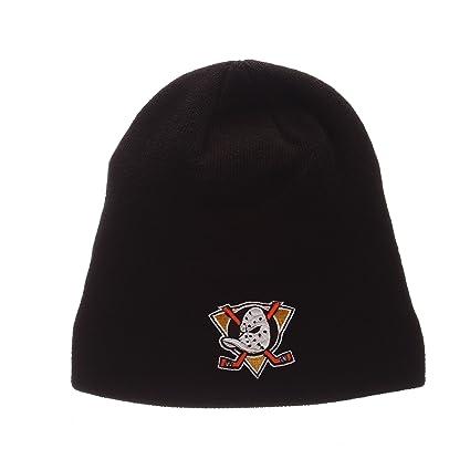 03a458df8d4 ZHATS Anaheim Mighty Ducks Black Edge Skull Cap - NHL Cuffless Winter Knit  Beanie Toque Hat
