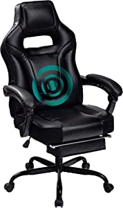 HEALGEN Big and Tall Gaming Chair with Footrest PC Computer Video Game Chair Racing Gamer Pu Leather Chair High Back Swivel Executive Ergonomic Office Chair with Headrest Lumbar Support