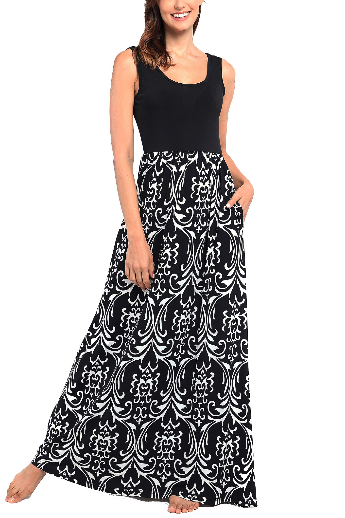 Comila Long Dresses with Pockets for Women, Ladies Dresses Casual Black Floral Maxi Dress Elegant Scoop Neck Empire Waist Racerback Maxi Tank Dress M (US 8-10)