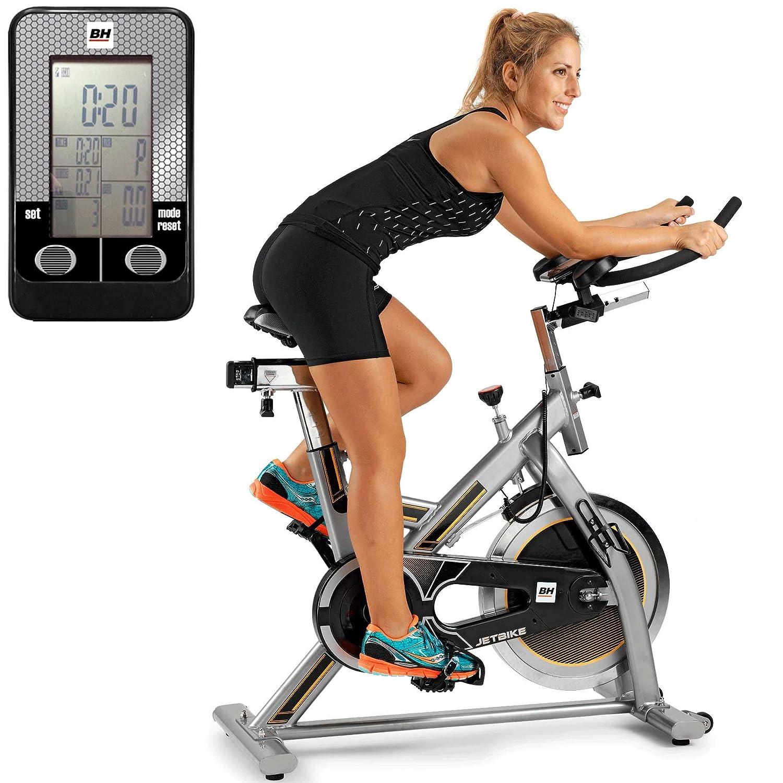 BH Fitness Uni Mkt Jet H9158RF Indoor Bike, Silber Grau Gelb, One Größe
