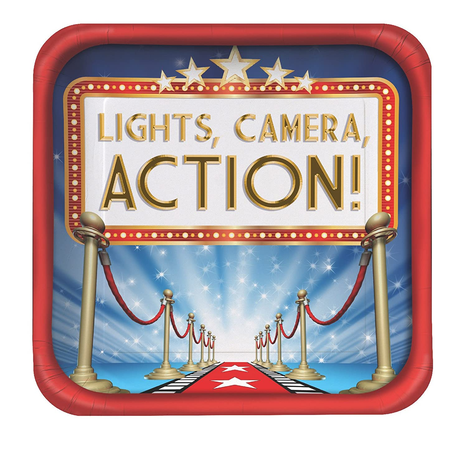 Creative Converting 427607 Hollywood Lights Square Dinner Plates 9 Red//Blue//White