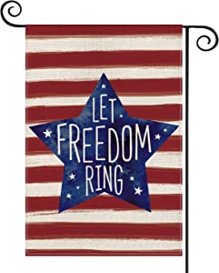 AVOIN Patriotic Watercolor Stripes Star Let Freedom Ring Garden Flag Double Sided, 4th of July Memorial Day Independence Day Yard Outdoor Decoration 12.5 x 18 Inch