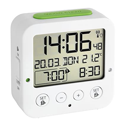 TFA 60.2528.02 - Reloj despertador digital, color blanco
