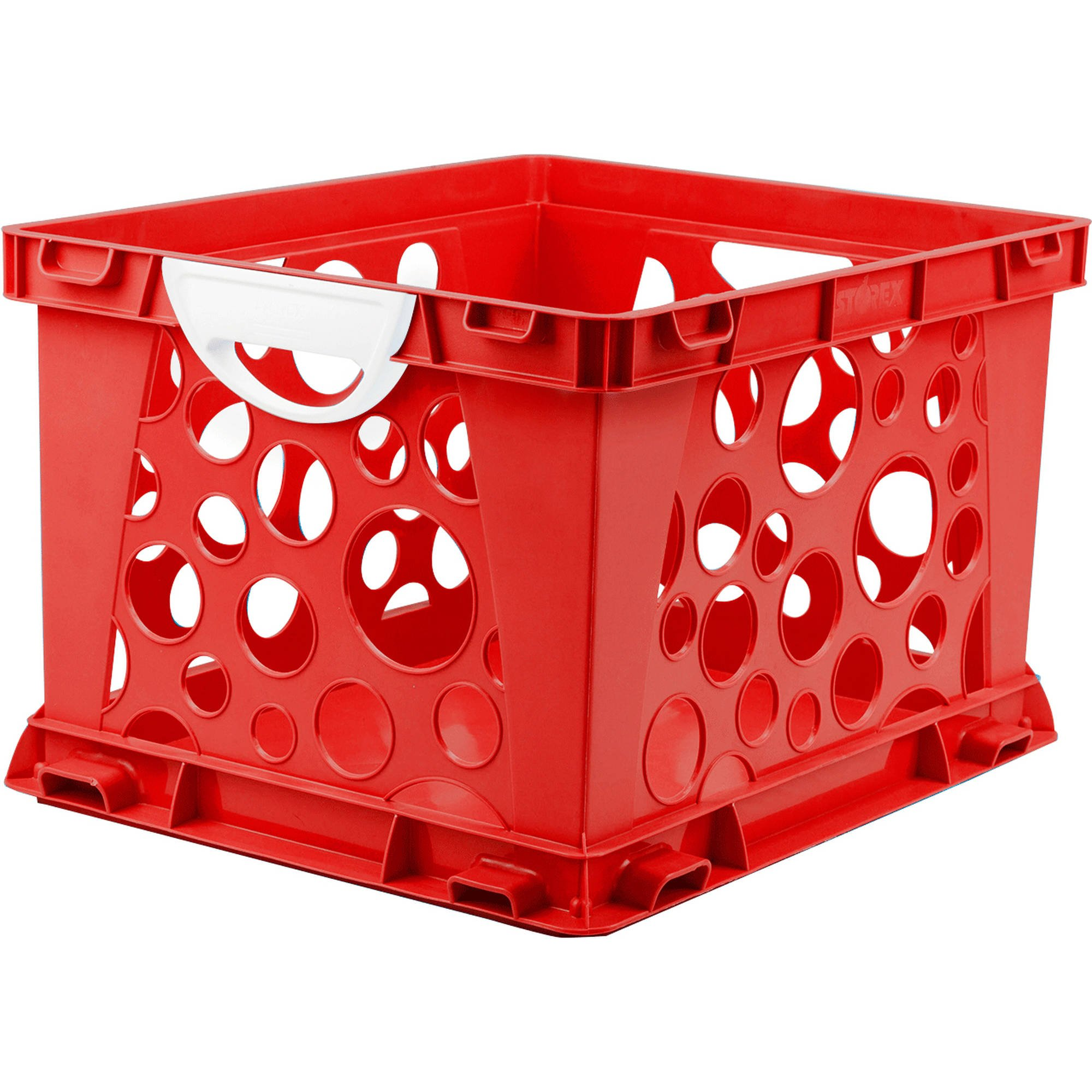 Indoor Large File Crate Storage with Handles, in Red Color ( 3 PACK )