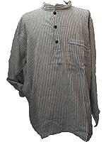 Black & White Striped 100% Cotton Collarless Grandad Shirt - Fairtrade
