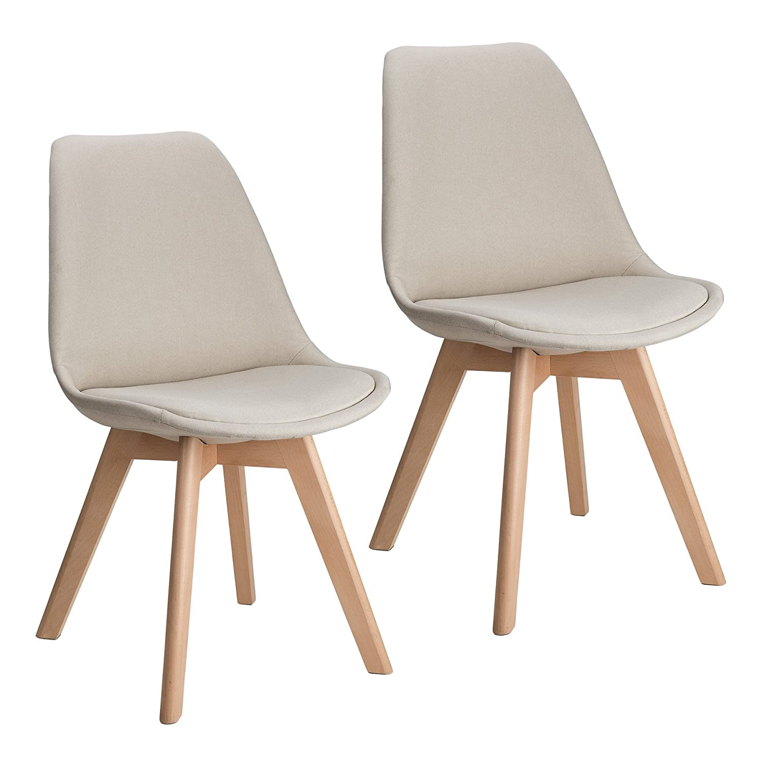 CO-Z Contemporary Mid Century Dining Chairs, Modern Side Chair for Kitchen,  Office, Living Room, Bedrooms and More (Sets of 2, Beige)