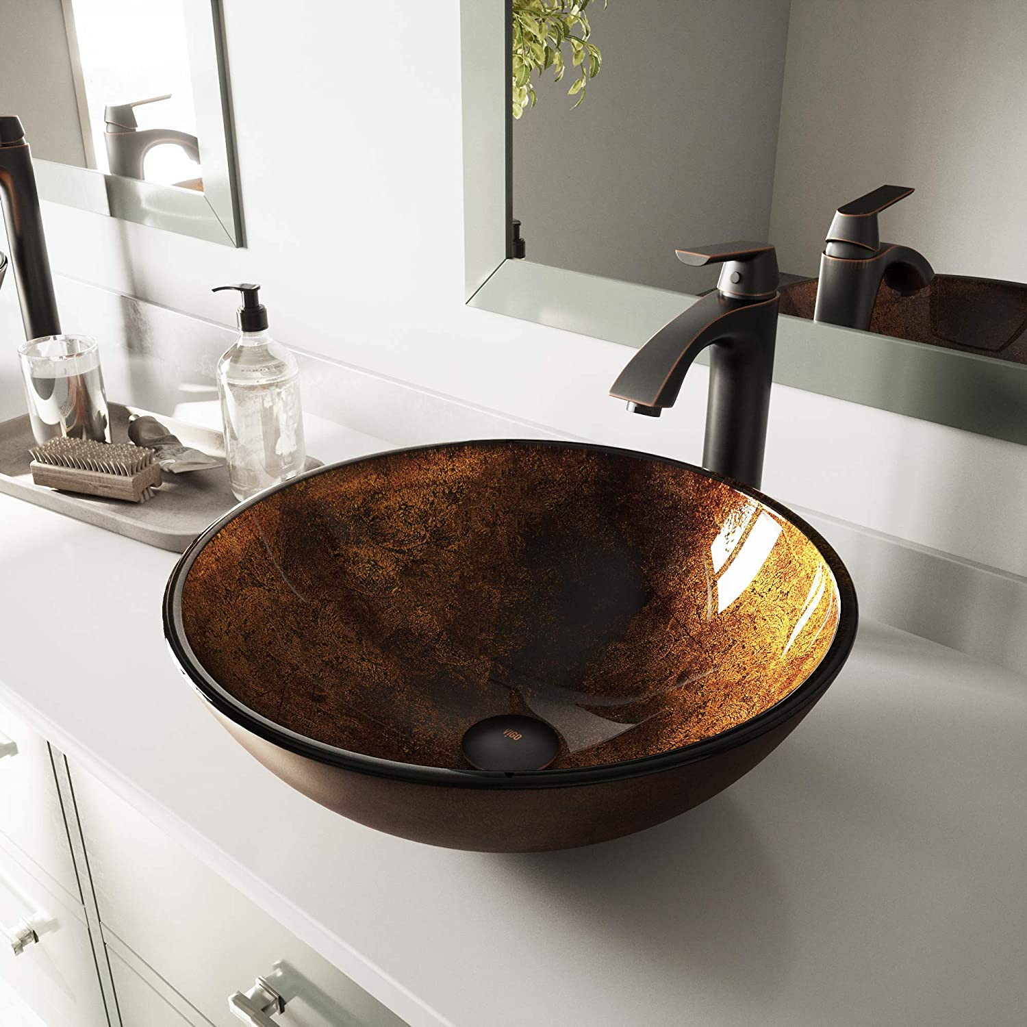VIGO Russet Glass Vessel Bathroom Sink and Linus Vessel Faucet with Pop Up, Antique Rubbed Bronze