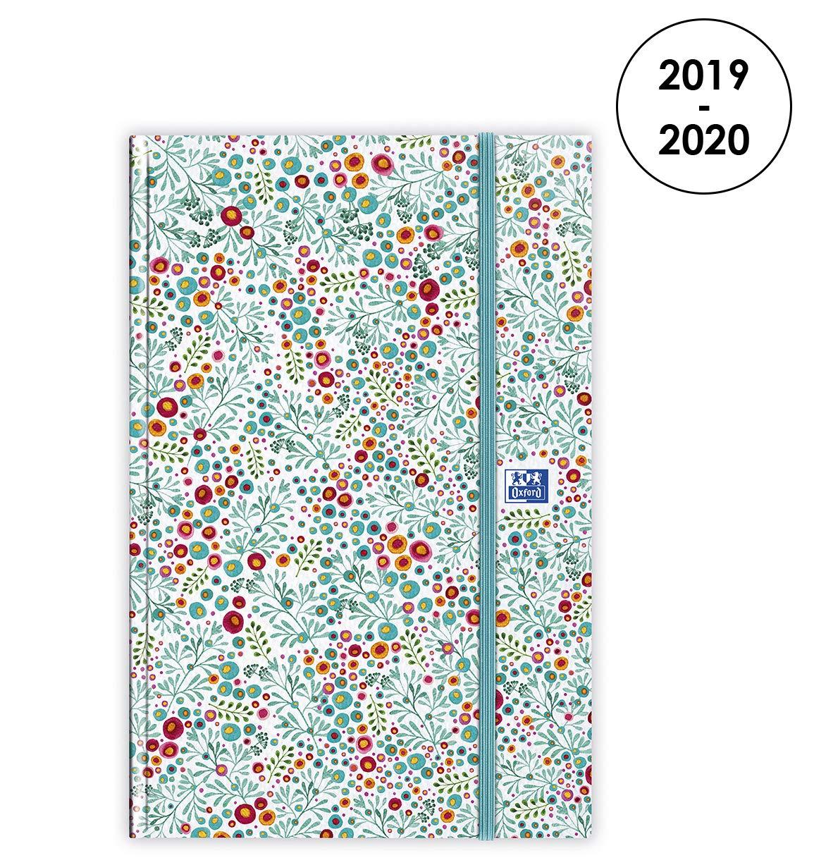 Oxford Agenda Flowers 2019-2020 dAo/ût /à Ao/ût 1 Semaine sur 2 Pages Format 16X24 Bleu