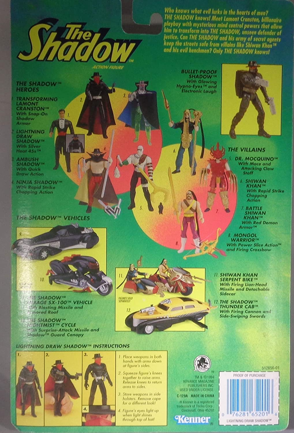 The Shadow Action Figure - Lightning Draw Shadow with Silver ...