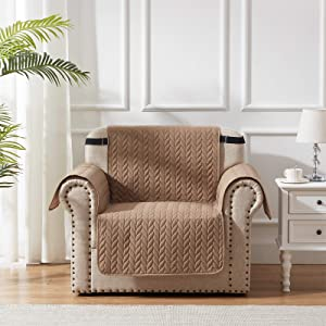 SunStyle Home Taupe Slipcovers for Chairs 100% Waterproof Furniture Protector Leaf Embroidered Couch Cover with Adjustable Elastic Strap and Non-Slip Backing for Dogs Pets Kids