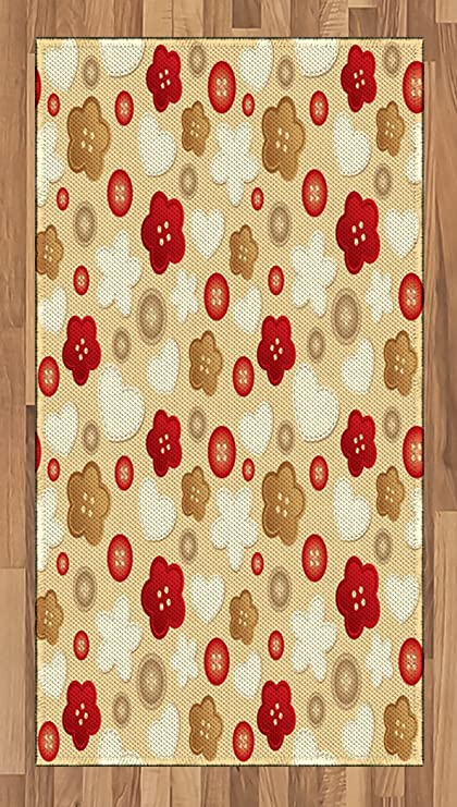 Lunarable Beige Area Rug, Cute Illustration Of Hearts Buttons And Flowers  Feminine Playful Modern Art