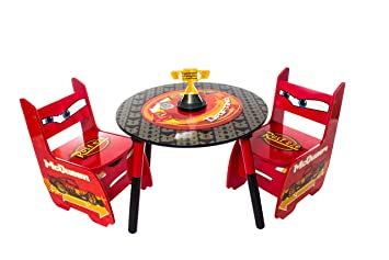 Disney Cars Lightning McQueen Childrens Wooden Table And Two Chairs Set    Kids Bedroom / Playroom