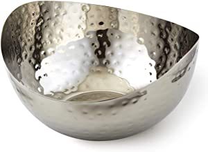 "Doma Vita Hammered Stainless Steel Wave Candy Dish/Catch All Bowl (6""x6""), Silver"