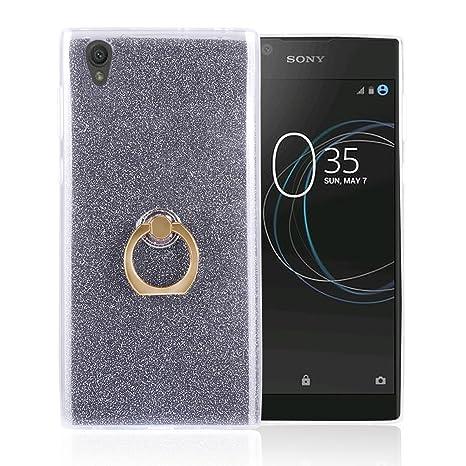 Funluna Sony Xperia L1 Funda Dedo, Carcasa de Glitter Bling Silicona con 360 Grados Rotating Soporte Anti-Gota Anillo Bumper Case para Sony Xperia L1