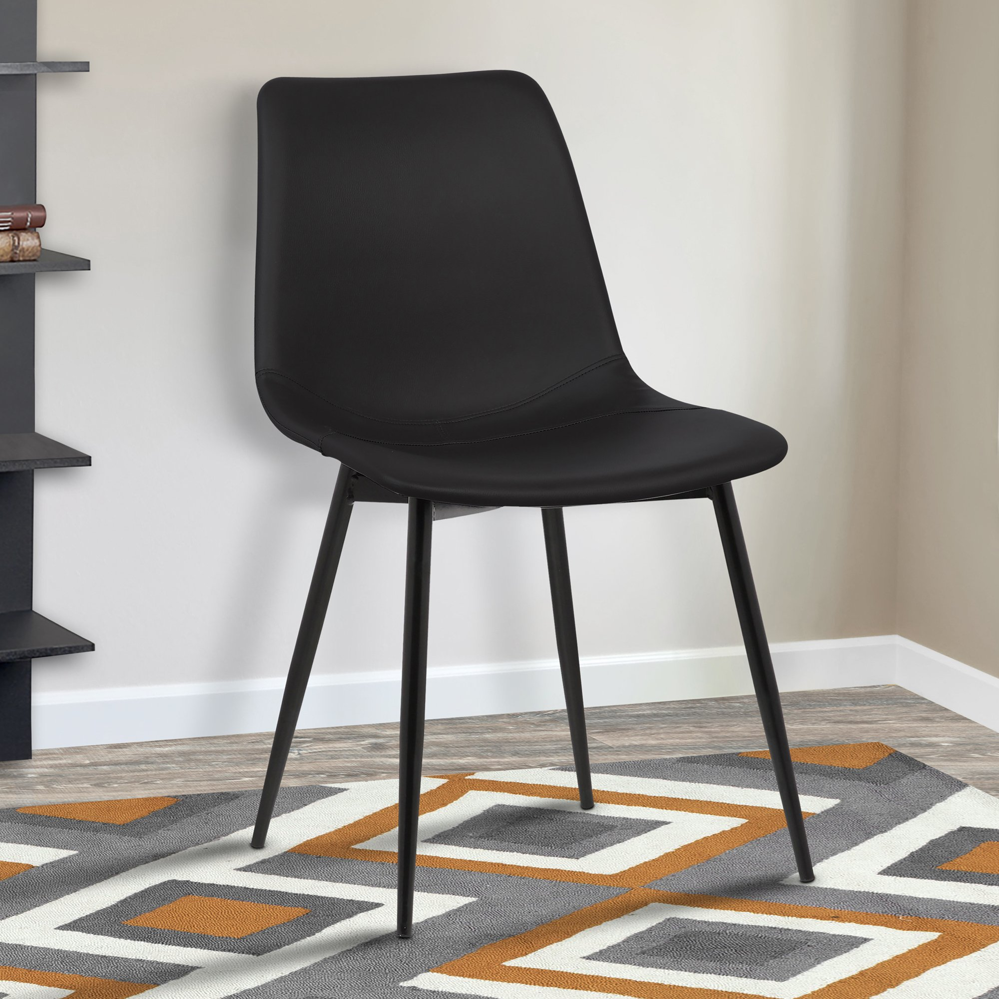 Armen Living Monte Dining Chair in Black Faux Leather and Black Powder Coat Finish by Armen Living