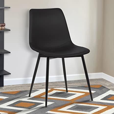 Groovy Armen Living Monte Dining Chair In Black Faux Leather And Black Powder Coat Finish Pabps2019 Chair Design Images Pabps2019Com