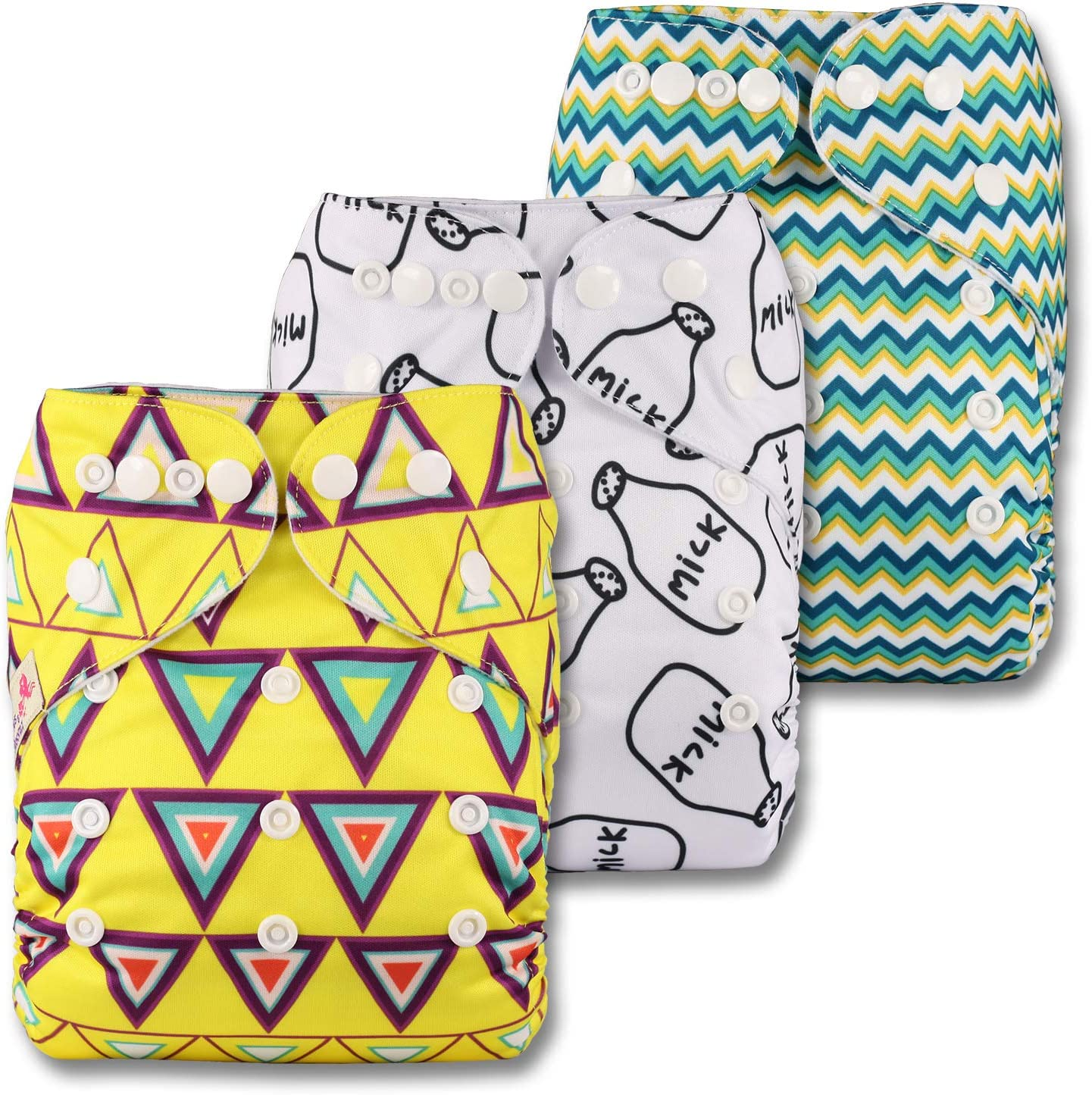 Fastener: Popper with 3 Bamboo Charcoal Inserts Patterns 329 Reusable Pocket Cloth Nappy Set of 3 Littles /& Bloomz