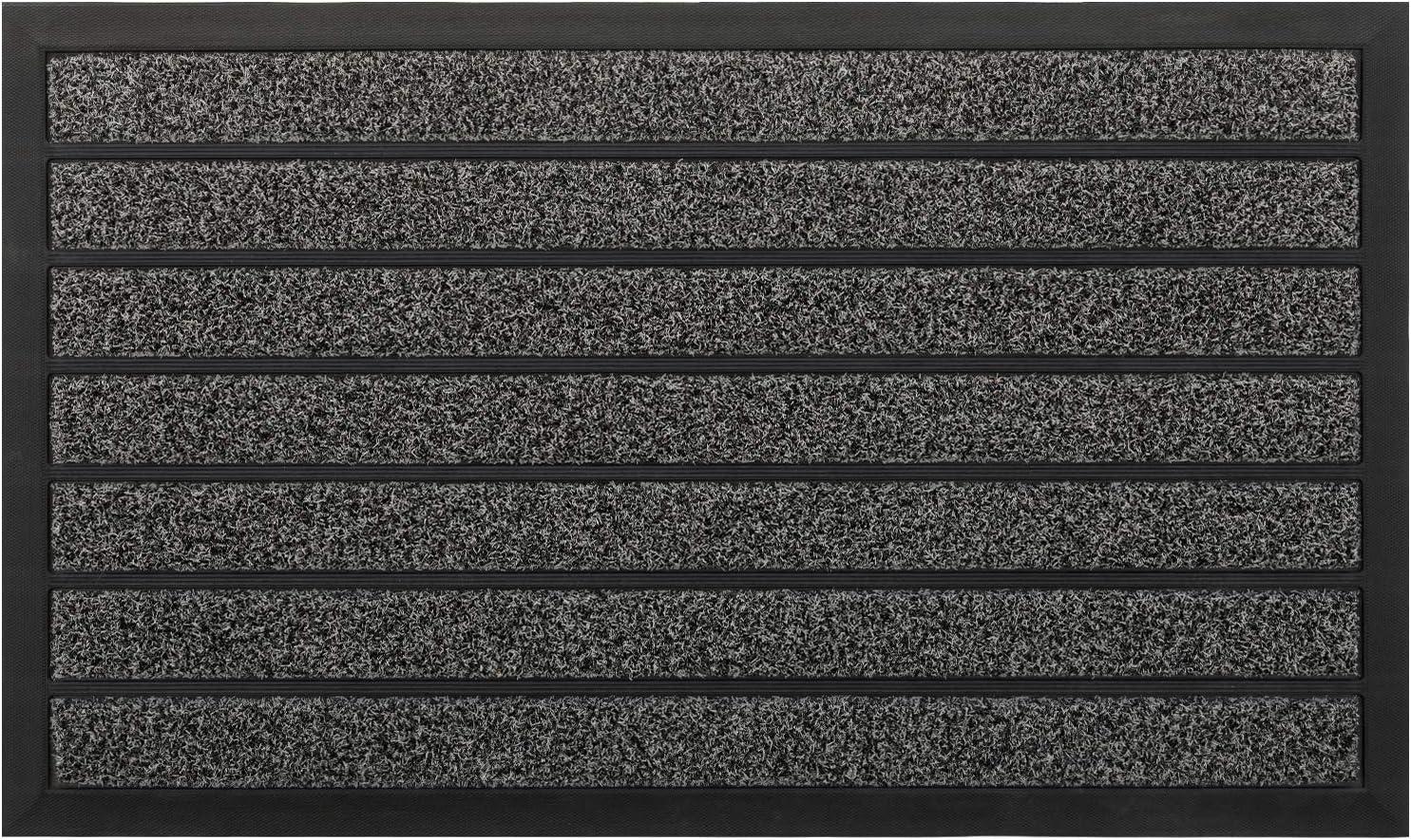 Rubber Door Mat, Front Outdoor Doormat by PILITO, Heavy Duty Welcome Mats, Non-Slip Entrance Mat for Patio, Entry, Back Door, Capture Dirt & Easy-to-Clean (18