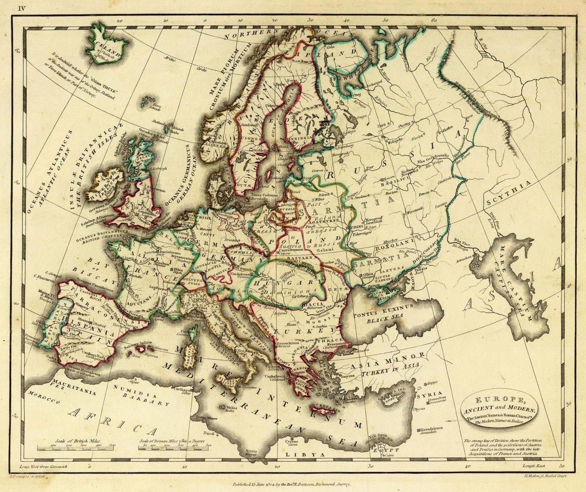 1804 School Atlas | Europe, ancient and modern. E.P. compost. & delint. H. Mutlow Sc., Russell Court. Published 15 June 1804 by the Revd. E. Patteson, Richmond, Surrey. | Antique Vintage Map Reprint