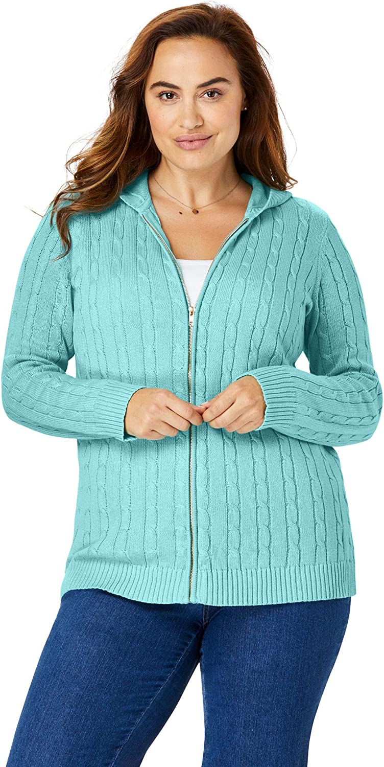 Woman Within Womens Plus Size Hooded Cable Knit Zip-Front Cardigan