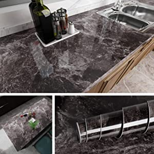 Livelynine 15.8x197 Inch Removable Marble Wallpaper Peel and Stick Countertops Granite Wall Paper Decorative Wall Paper Marble Paper for Bathroom Decor Adhesive Backsplash for Kitchen Walls