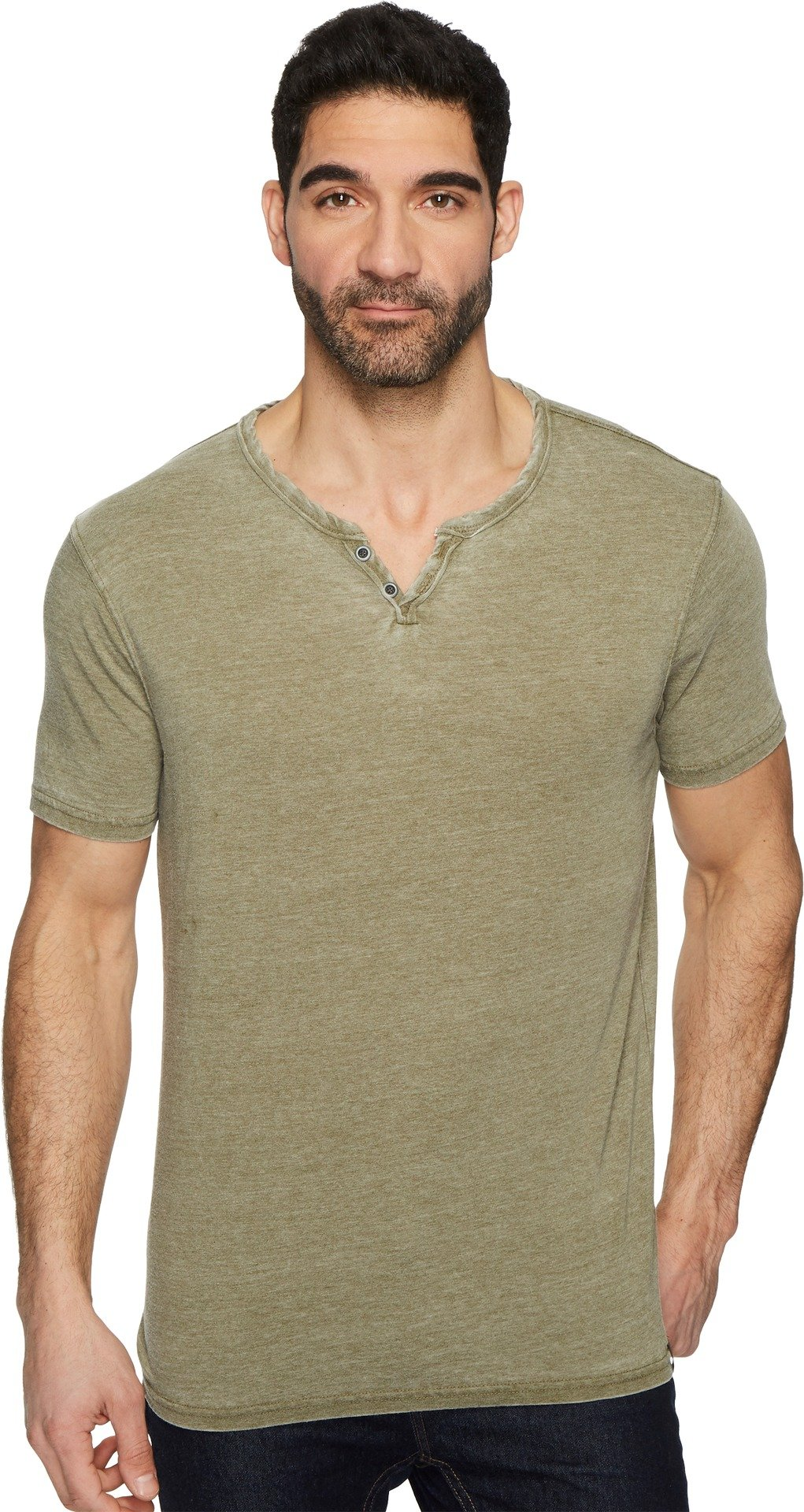 Lucky Brand Men's Burnout Button Notch Neck Shirt, Dark Olive, XL