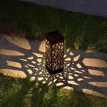 SHSH luz solar para decoración de camino, luces LED solares, luces de paisaje, luces de jardín, luz de decoración de jardín, batería incluida, arte, B Warm, 2.4