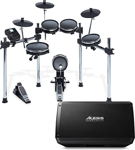 Alesis Surge Mesh Kit Eight-Piece Electronic Drum Kit with Mesh Heads 40 Kits, 385 sounds, 60 Play-Along Tracks USB MIDI Connectivity Strike Amp 12