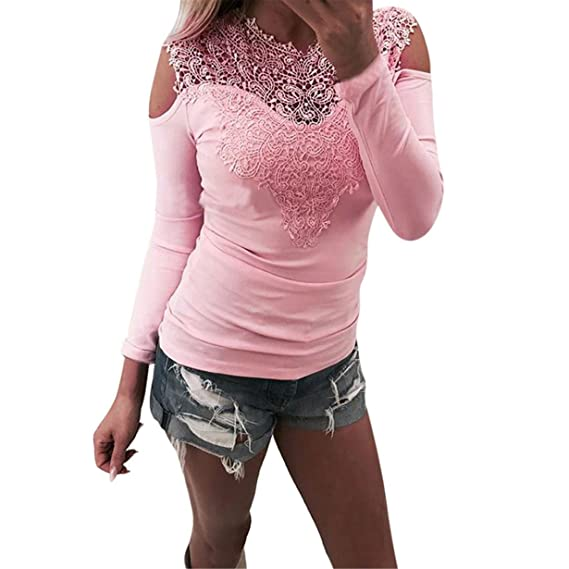Mujer Encaje Blusa de Manga Larga Camisetas Oferta Blusas de Mujer Elegantes de Fiesta,❤