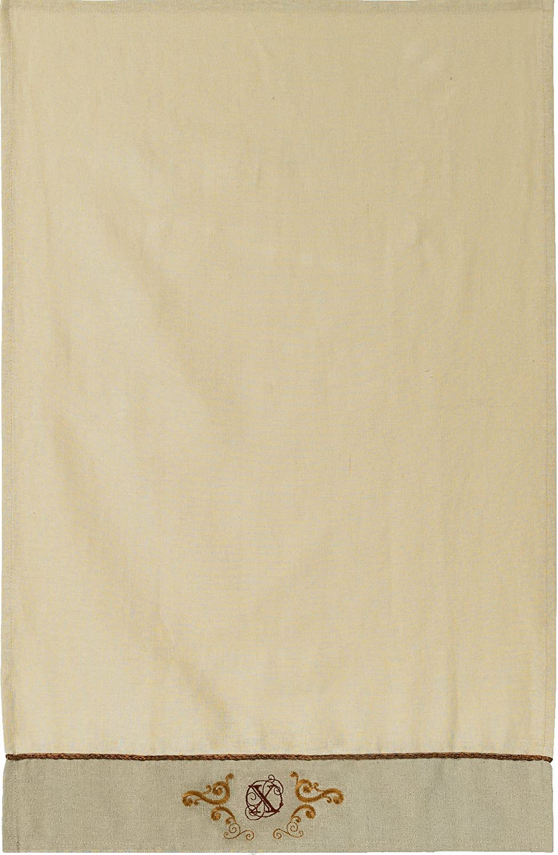 Grasslands Road Cucina Monogram Letter Initial X Embroidered Scrollwork Tea Towels Set of 2
