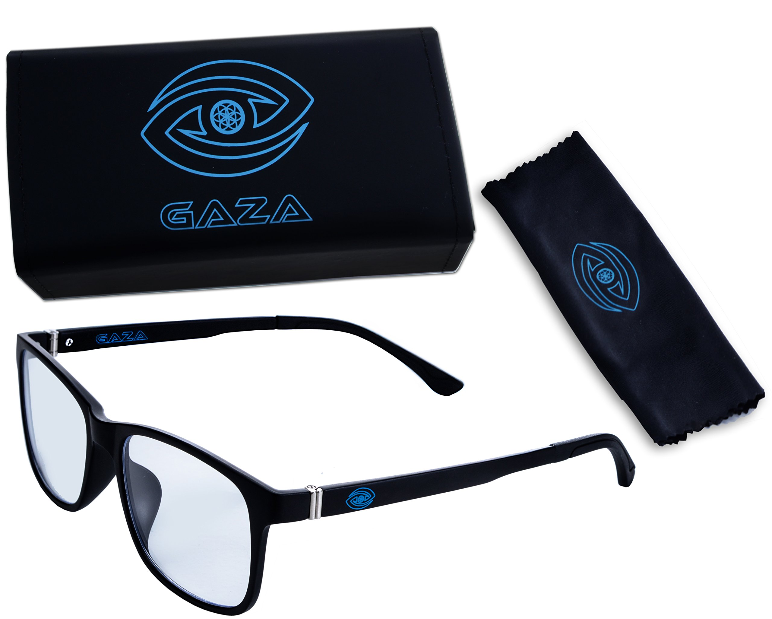GAZA Computer Glasses - Blue Light Blocking Glasses for Reducing Digital Eyestrain/Fatigue, Better Sleep, Preventing Headaches - Increased Stamina, Performance & Productivity for Work/Gaming